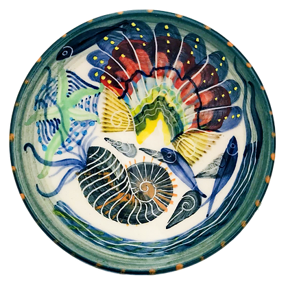 Pru Green - Small Dish Fish and Sea Shell Design