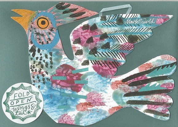 Mark Hearld - Flying Bird Greetings Card - Blue