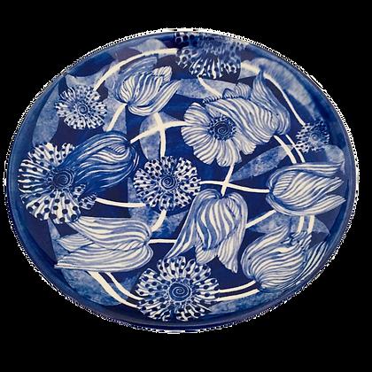 Pru Green Pottery - Large Plate 25 cm - Blue & White Pippa Design