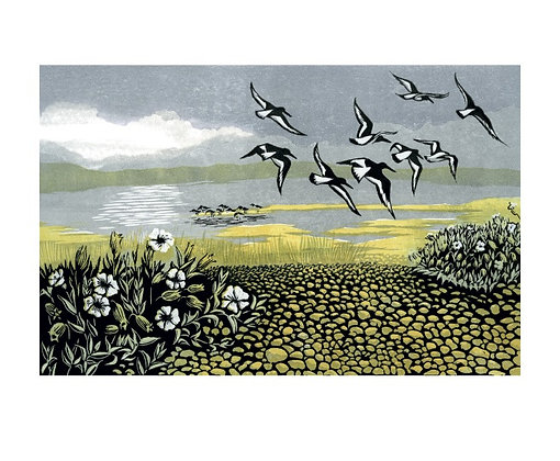 Blakeney Oyster Catchers Norfolk Coast by Niki Bowers - Art Angels Single Card