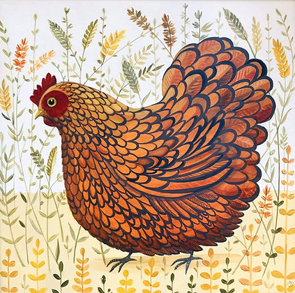Catriona Hall - Walk On The Wild Side - Hen - Original Painting