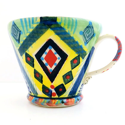 Pru Green Pottery - Mug - Bright Colourful - Large - Unique