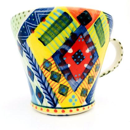 Pru Green Mug - Large Bright Colourful Pattern