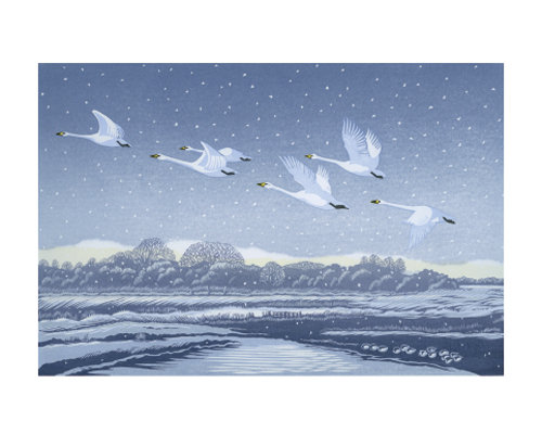 Snow Flight- Niki Bowers-Winter Printmakers Cards-Art Angels
