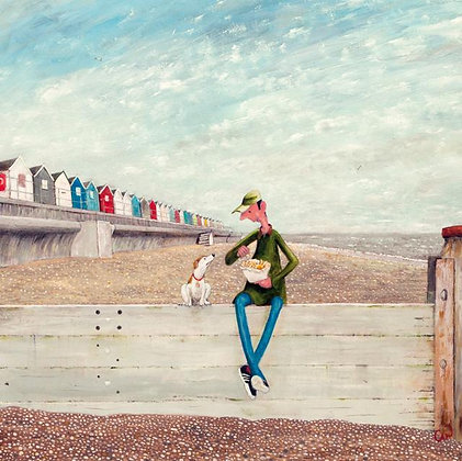 Fish n' Chips On The Beach - Fine Art Greeting Card - Green Pebble