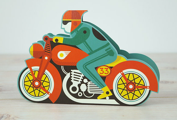 Motorbike - Die cut 3D card by Tom Frost