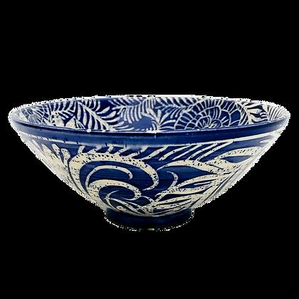 Pru Green - Blue and White Deep Medium Bowl Floral Design