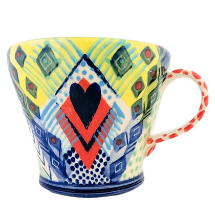 Pru Green Pottery - Large Bright Colourful Ceramic Mug