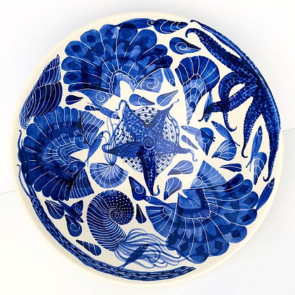 Pru Green - Very Large Blue and White Decorated Bowl