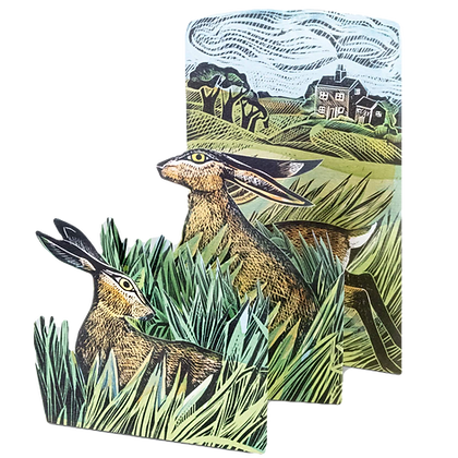 Hares and Open Fields - by Angela Harding - Cut out Concertina Fold Card