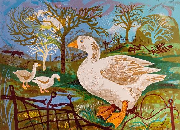 Mark Hearld - Original Lithograph Orchard Goose
