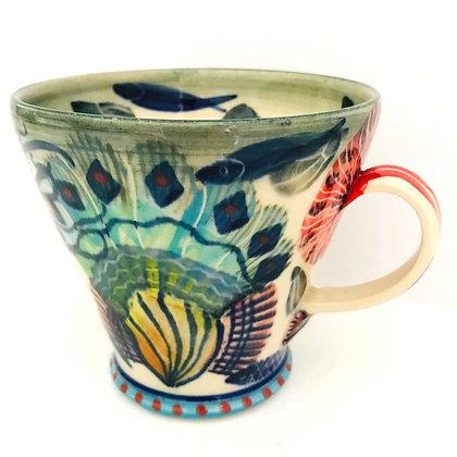 Pru Green - Cone Mug Shell and Fish Design