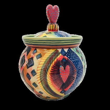 Pru Green Pottery - Handmade Unique Decorative Jar with Lid