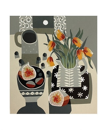 Tulips and Fig - by Jane Walker - Art Angels Printmakers Card