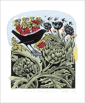 Angela Harding - Blackbird Stealing Redcurrants - Card by Art Angels