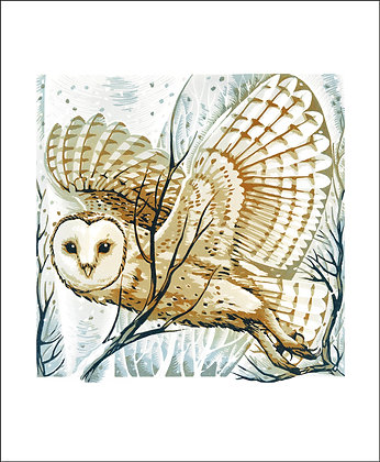 Barn Owl - Winter Printmakers Cards from Art Angels