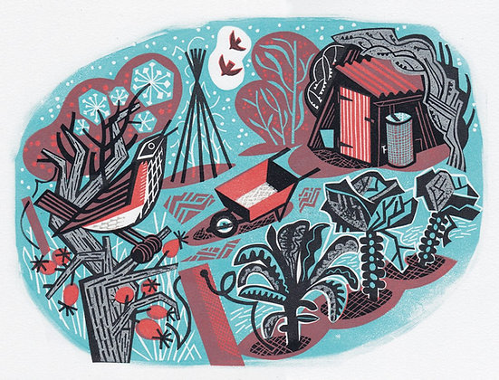 Linoprint of a Redwing in an allotment by Clare Curtis - Printmaker - Church Street Gallery -