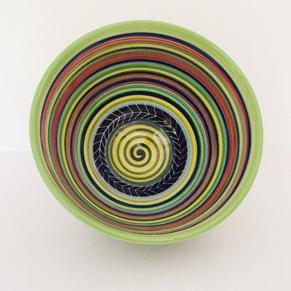 Pru Green -  Saturn Design Deep Colourful Bowl