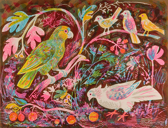 Mark Hearld Sill Life With Amazon Parrot