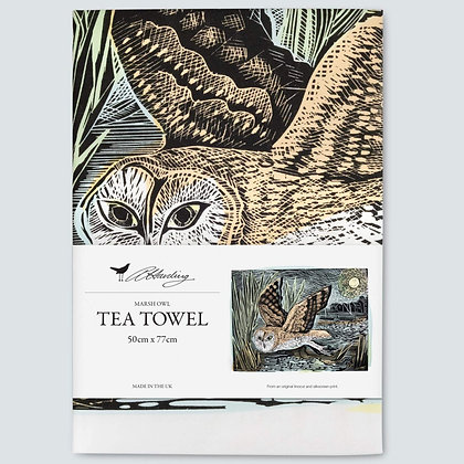 Angela Harding - Tea Towel - Marsh Owl - Printed in UK