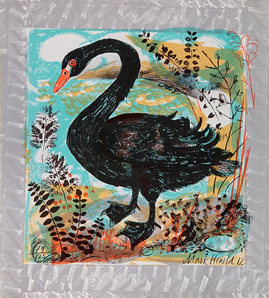 Mark Hearld Original Lithograph Menagerie Swan