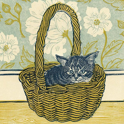 Kitten In A Basket - Greetings Card - Vanessa Lubach