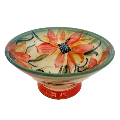 Pru Green -  Small Floral Design Bowl on Small Stand