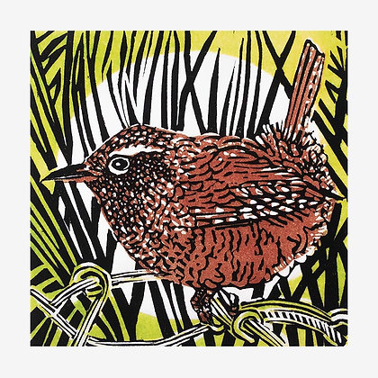 Wren - Original Linocut by Linda Richardson
