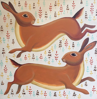 Catriona Hall - Hares - Original Painting
