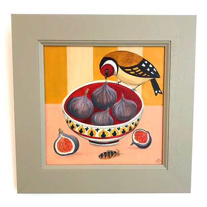 Catriona Hall - Finch and Figs - Original Painting