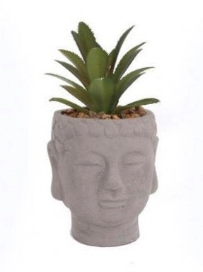 Buddha head with artificial succulent