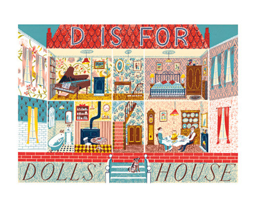 Emily Sutton - D is for Dolls House - Printmakers Card by Art Angels