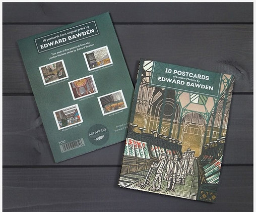 Edward Bawden London Markets Linocuts Postcard Book
