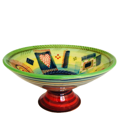 Pru Green Pottery - Colourful Bowl on Stand