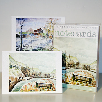Eric Ravilious New Year Snow and Edward Bawden January 10am - Notecards in Wallet