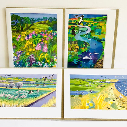 Carry Akroyd - Printmakers Card Collection x 4 Cards