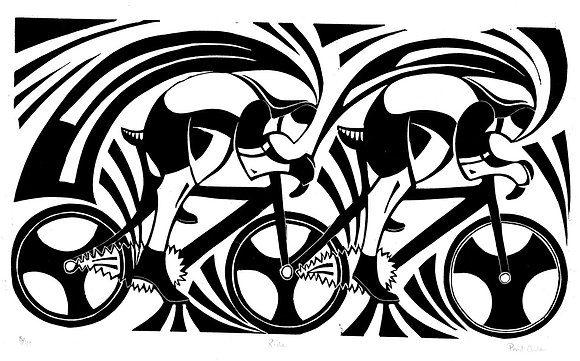 Paul Cleden - Ride - Cycling Linocut