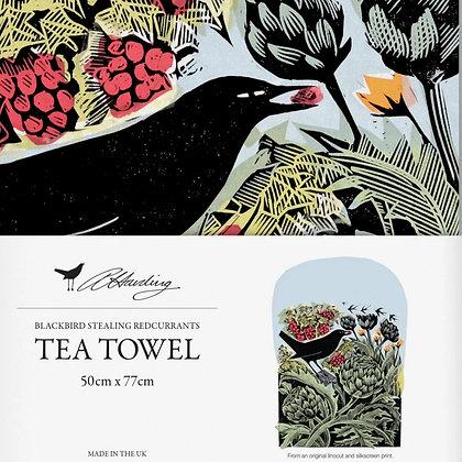 Angela Harding - Blackbird Stealing Red Currants - Printed Tea Towel
