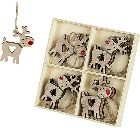 Pack of 8 Reindeer decorations