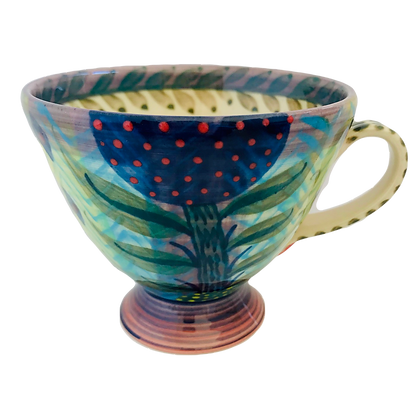 Pru Green Pottery - Colourful Footed Cup/Mug with Floral Design