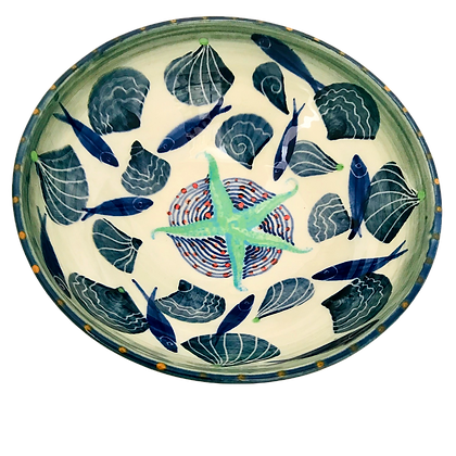Pru Green Pottery - Medium Colourful Bowl