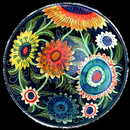 Large Ceramic Bowl by Pru Green -  Colourful Floral Design