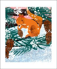 Winter Red Squirrel - Printmakers Cards -Art Angels