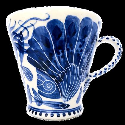 Pru Green - Blue and White Pottery Mug - Shell Mug