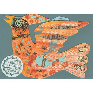 Mark Hearld - Flying Bird Greetings Card - Orange