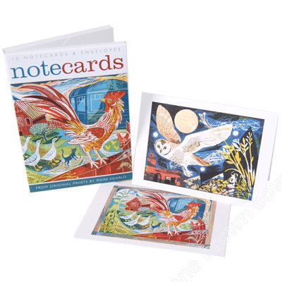 Mark Hearld - Rooster and Owl Flight - Notecards