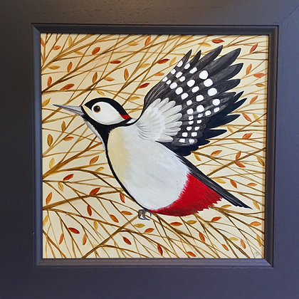 Catriona Hall - Woodpecker on The Wing - Original Painting