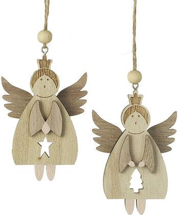 Hanging wooden angels