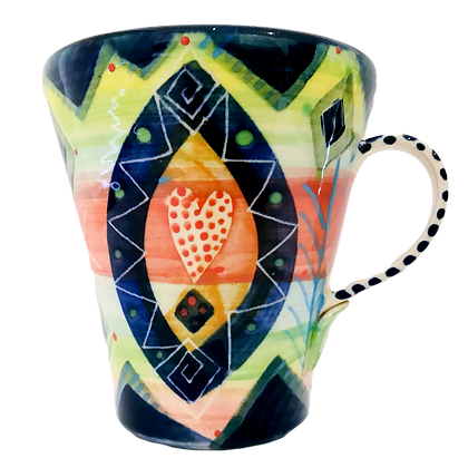 Pru Green Pottery - Large Bright Colourful Cone Mug