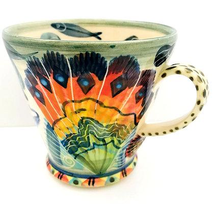Pru Green Mug - Large Shell and Fish Design